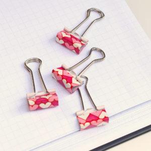 MemoMe. Foldback Klemmen Herzen rot rosa